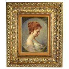 Circa 1915 Elegant Oil Painting Portrait Red Head Woman in Sleeveless Dress