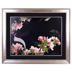 "Yankel Ginzburg ""Cherry Blossoms on Black"" original Photorealist Painting"