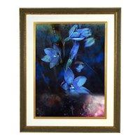"Yankel Ginzburg ""Night Dreams"" Surrealist Painting Spirit Woman w Blue Flowers"