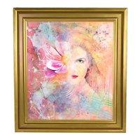 "Yankel Ginzburg ""Begin the Begin"" Surrealist Painting Green Eye Woman w Flower"