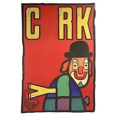 Original 1978 Cyrk Polish Circus Poster Clown w Slingshot Jan Mlodozeniec