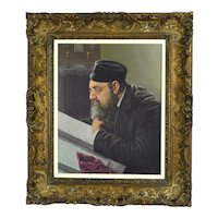 Konstantin Szewczenko Oil Painting Portrait Jewish Scholar Studying Polish Artist
