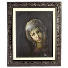 Vintage Mid-Century Modern Portrait Painting Mournful Woman by Kobata
