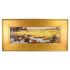 Chinese Oil Painting Autumnal Landscape Marshland with Herons or  Cranes