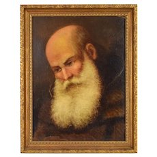 1893 Antique French oil Painting Old Man with Bushy White Beard signed
