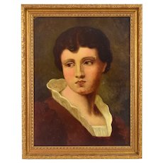 1893 Antique French oil Painting Young Man with High Collar signed