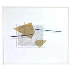 "1980's Modernist L/E Lithograph ""Movable Construction"" Signed A. Kaiser"