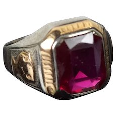 Vintage 1950's College School Class Ring Ruby Stone White Yellow 10K Gold