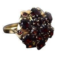 Vintage Mid-Century Estate Garnet Umbrella Ring 14k Solid Gold