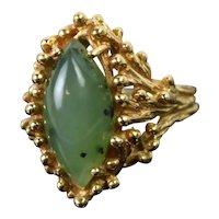 Vintage Mid-Century Estate 14k Gold Brutalist Design Ring w Jade Cabochon