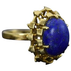 Vintage Estate 14k Solid Gold Geometric Block Design w Lapis Lazuli Ring