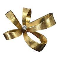 Vintage Mid-Century 14k Solid Gold Diamond Geometric Ribbon Flower Brooch