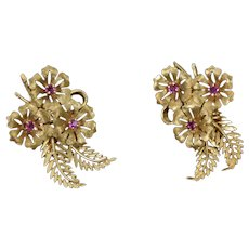 Vintage Mid-Century 14k Solid Gold Floral Earrings with Pink Stones