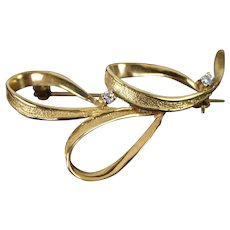 Vintage Mid-Century 14k Solid Gold Diamond Three Loop Ribbon Brooch