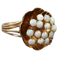 Vintage Mid-Century 14k Solid Gold Flower Ring with Opal Stamens