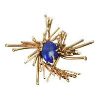 Vintage Brutalist 14k Solid Gold Pin Brooch with Lapis Lazuli Cabochon Center