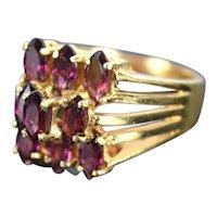 Vintage Estate 14k Solid Gold Ring 9 Step Set Marquise Purple Amethysts