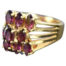 Vintage Estate 14k Solid Gold Ring 9 Step Set Marquise Purple Amethysts