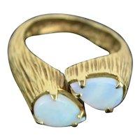 Vintage Estate 14k Solid Carved Gold Ring w Pair of Tear Drop Opals