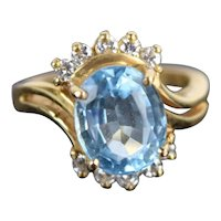 Vintage Estate 14k Solid Yellow Gold Ring w Oval Cut Blue Topaz & Diamonds