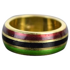 Vintage Estate 18k Solid Gold Ring Red Black Green Enamel Pan-African Flag