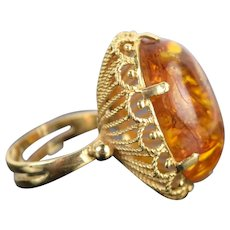 Vintage Estate 14k Solid Gold Ring w Large Natural Amber Cabochon