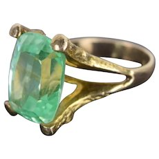 Vintage Estate 14k Solid Gold Twig Ring Large Emerald Cut Green Gemstone