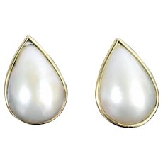 Vintage Estate 14k Yellow Gold Earrings with Teardrop Shape Pave Pearls