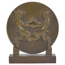 Henry Dropsy Art Deco Bronze Medallion Pair Fauns Playing Dancing