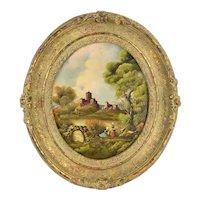 Vintage Oval Oil Painting Landscape w Castle and 2 Women by Van Thoren