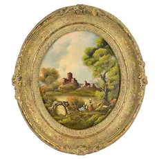 Vintage Oval Oil Painting Landscape w Castle and 2 Women by Van Thoren