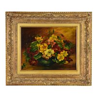 Antique Still Life Oil Painting Vase of Flowers Red Yellow Pansies signed Lange