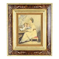Antique Painting Music Recital Mother Playing Piano w Children Signing