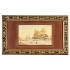 Antique 19th Century Painting Villagers Picnic & Fishing on River Bank Signed