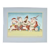 Yuval Mahler Whimsical Family in Chairs with Cat Artist's Proof Lithograph