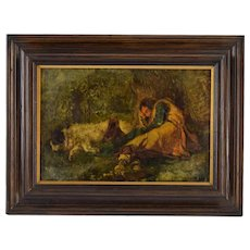 19th Century Oil Painting Shepherd Napping Under Tree with Scruffy Dog