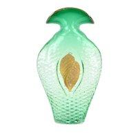 Daniel Gaumer Art Glass Sculpture Blown Green Glass Vessel w pate de verre Shell