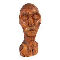 Huge Vintage Mid-Century Carved Wood Abstract Bust Man's Head Sculpture