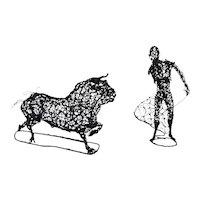 Large Vintage Mid-Century Matador Bull Bullfighter Metal Wire Sculpture