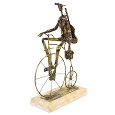 Mid-Century Brutalist Metal Sculpture Guitarist Musician Antique Bicycle sgd
