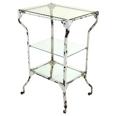 Vintage Industrial Distressed Medical Metal Rolling Table Stand