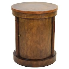 Baker Furniture Co. Empire Drum Table Pedestal Cabinet Round End Table