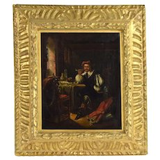 Antique Dutch Oil Painting Soldier Smoking Pipe after Frans van Mieris