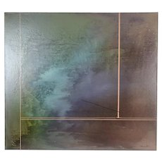 Vintage Modernist Abstract Tonal Dark Oil Painting by Wrona Gall