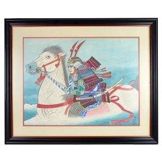 Original signed Ikuno Japanese Gouache Painting Samurai Warrior w White Horse