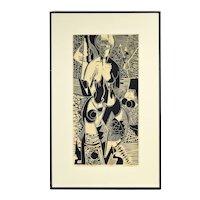 "Vintage Woodblock Print Nude Woman Figure Herbert Gralnick ""The Dream"""