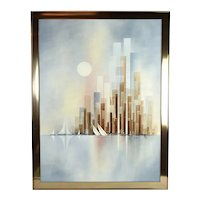 Vintage Mid-Century William Meyers Abstract Cityscape w Harbor Painting
