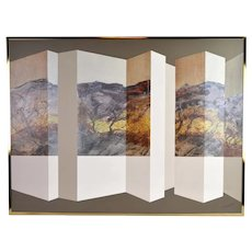 Vintage Mid-Century Modern Geometric Abstract Landscape by Henderson