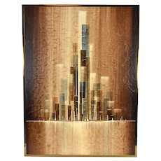 Vintage Mid-Century William Meyers Geometric Abstract Architectural Painting