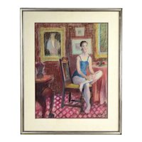 Vintage Oil Crayon Painting Dancer w Roses Seated in Interior Room by Wolf